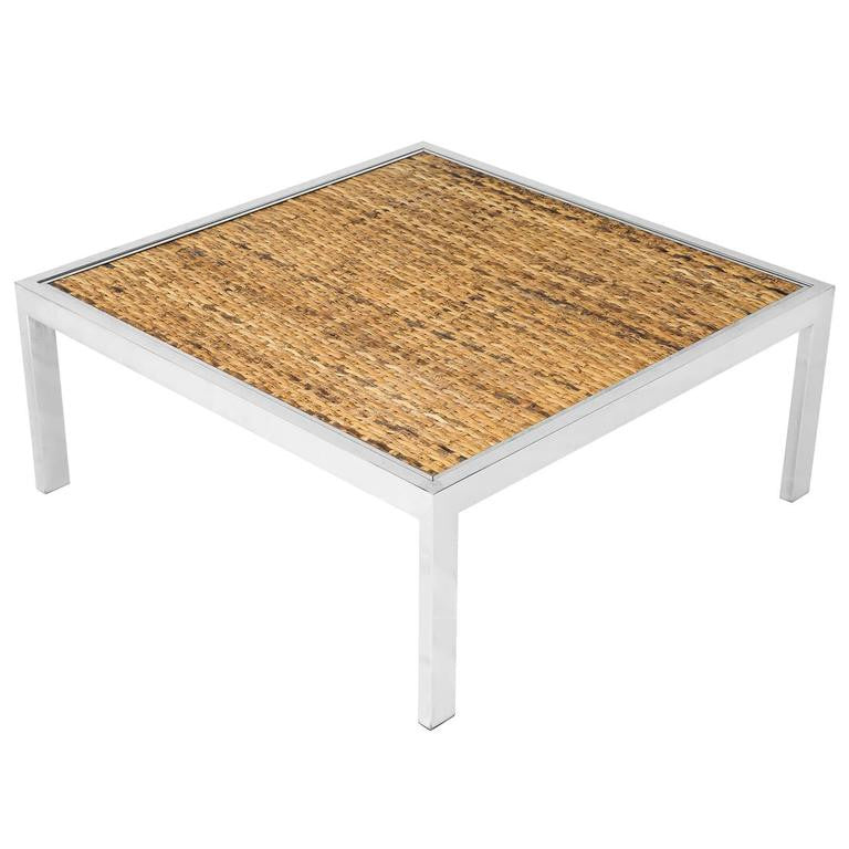 *SOLD* Milo Baughman Woven Bamboo and Chrome Cocktail Table with Glass Top