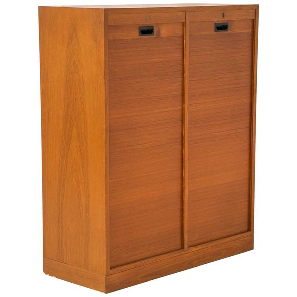 *SOLD* Danish Modern Lockable Tambour Storage Cabinet