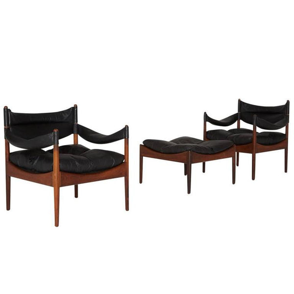 *SOLD* 'Modus' Leather Lounge Chairs and Ottoman by Kristian Solmer Vedel