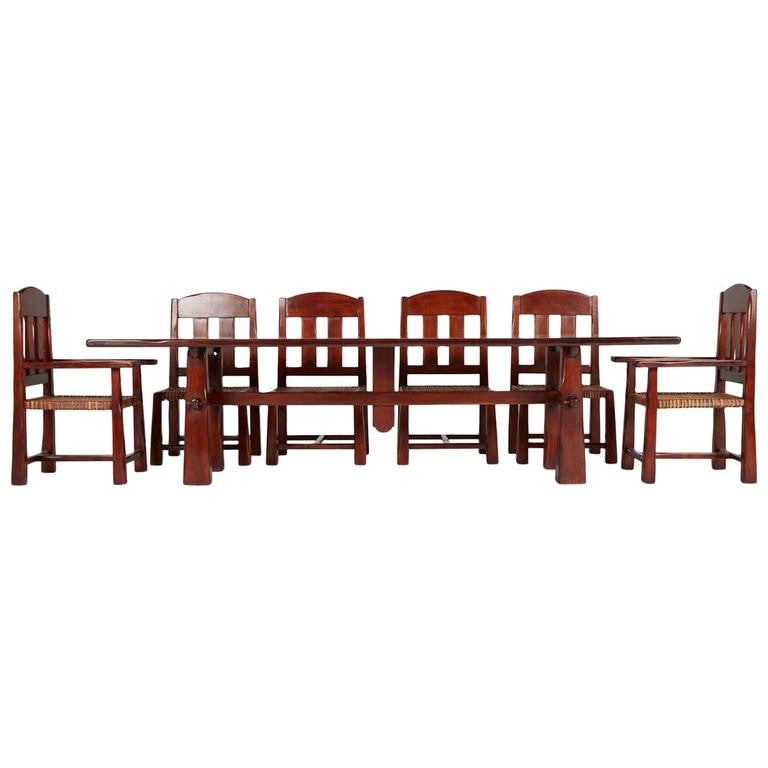 *SOLD* Monumental Argentinian Algarrobo Wood Trestle Table and Ten Chairs