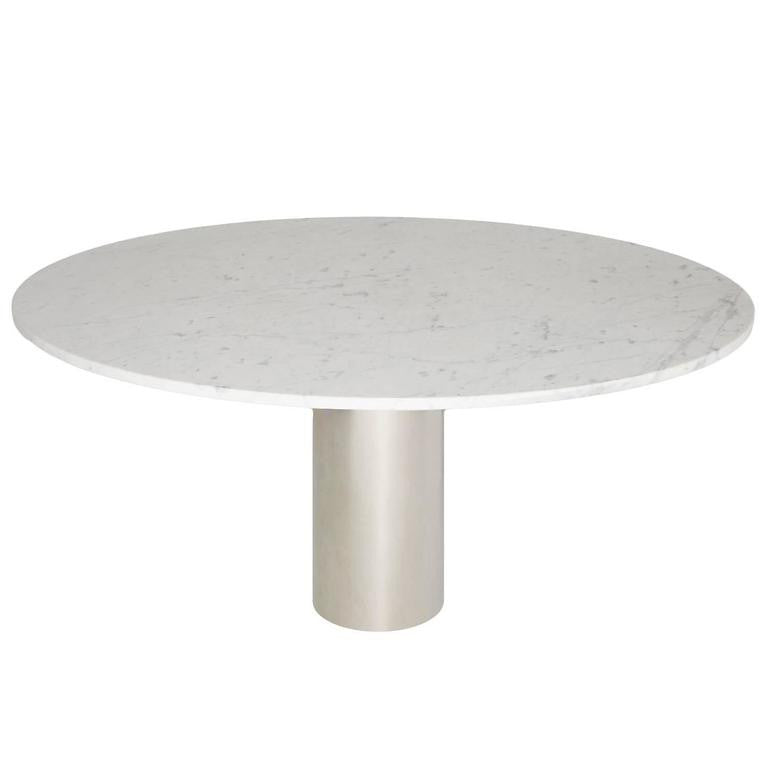 *SOLD* Monumental White Marble Pedestal Dining Table by Brueton