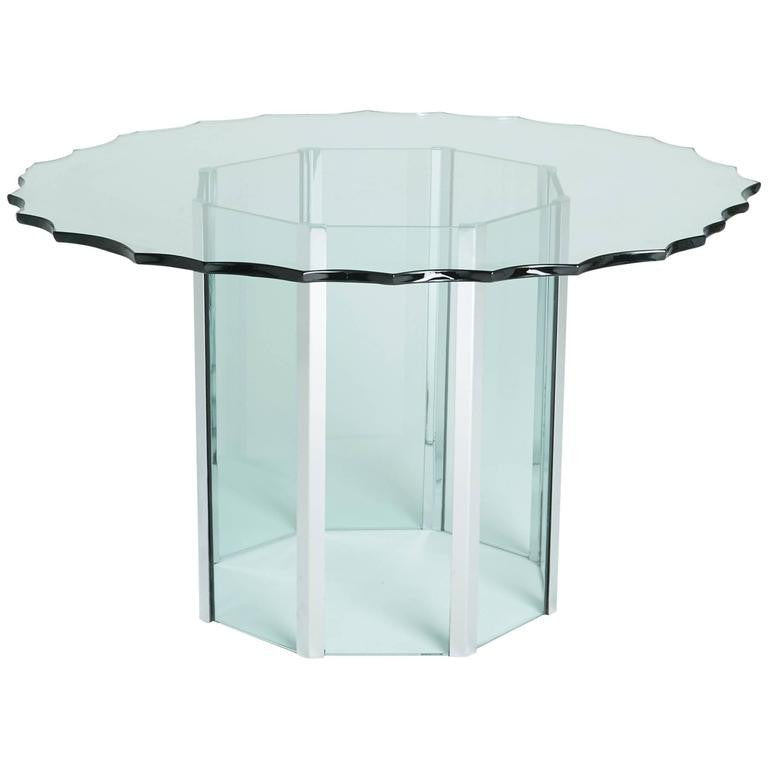 Pace Collection Custom 'Chipped Glass' and Chrome Table