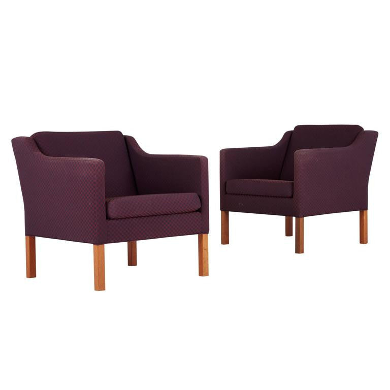*SOLD* Pair of Model 2521 Armchairs by Børge Mogensen for Fredericia Stolefabrik, Marke