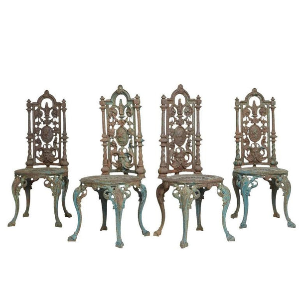 *SOLD* Patinated Victorian Iron Garden Chairs, circa 1930s