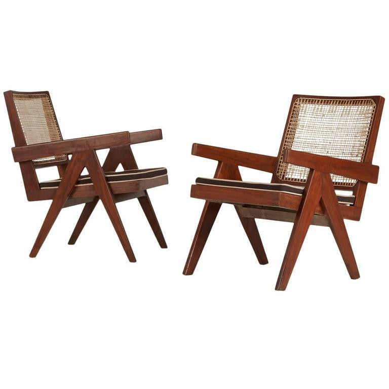 *SOLD* Pierre Jeanneret Chandigarh Easy Armchairs, Set of Two, 1950s