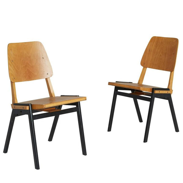 *SOLD* Danish Industrial Stacking Chairs, Pair, circa 1950s - ON SALE