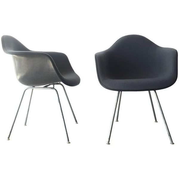 *SOLD* Pair of Upholstered Eames Shell Chairs by Herman Miller, 1984 Production Date