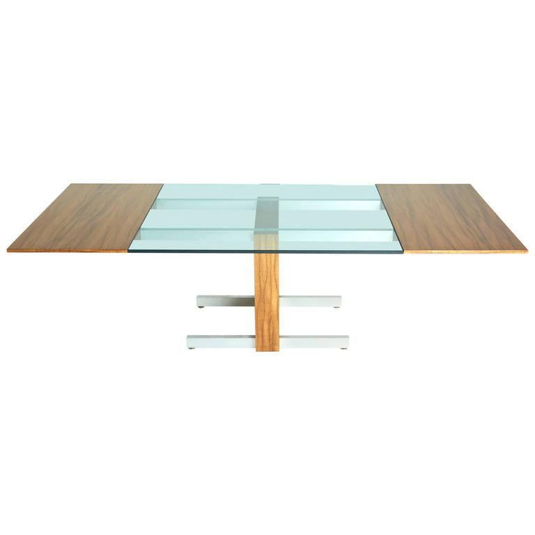 *SOLD* Vladimir Kagan Glass, Aluminum and Wood Table, Sale
