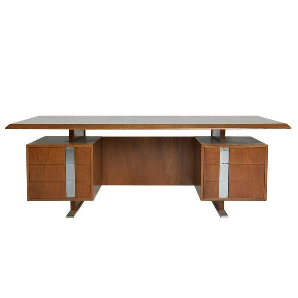 *SOLD* Large Walnut Chrome Floating Executive Desk, circa 1960