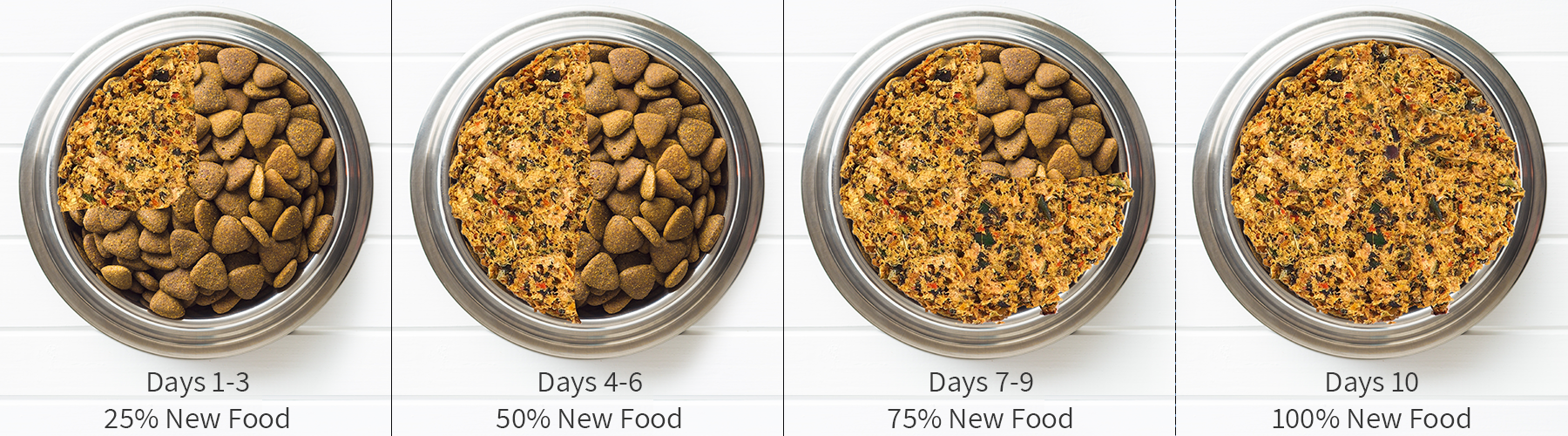 How to transition the dog food. There are four bowls - the first shows that on days 1-3 that it should be 25% new food and 75% their same food. On days 4-6 it should be 50% new food. On days 7-9 it should be 75% new food. Day 10 100% new food.