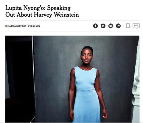 Lupita Nyongo speaks out about harassment from Weinstein