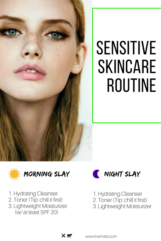 nobs skincare routine for sensitive skin