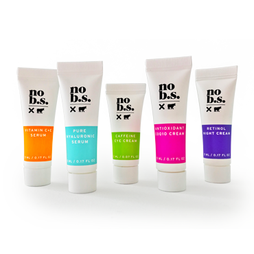NO B.S. TRIAL: THE STARTER KIT. 5 deluxe minis for home try-on + 1 full-size SPF moisturizer.