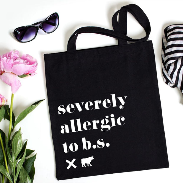 Severely Allergic to B.S. Signature Tote Bag - No B.S. Skincare products
