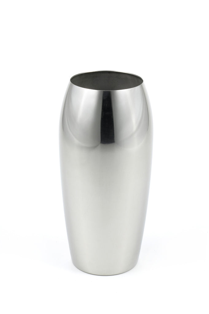 StainlessLUX 72202 Brilliant Oblong Stainless Steel Flower Vase, 4.6 Inches Diameter x 9.4 inches Height