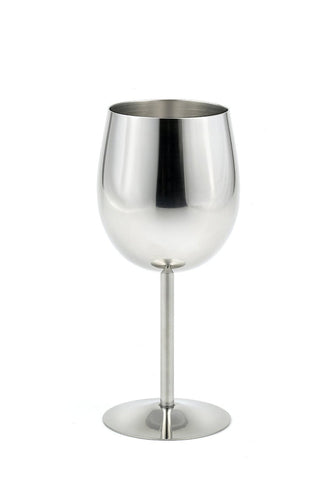 StainlessLUX 73344 Brilliant Stainless Steel Wine Glass / Wine Tasting Goblet