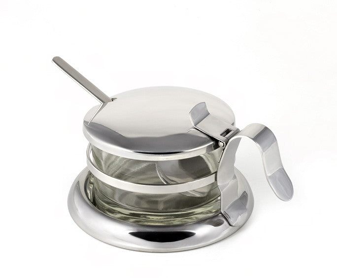 StainlessLUX Brilliant Stainless Steel Salt Server / Cheese Bowl / Condiment Serving Bowl & Spoon Set