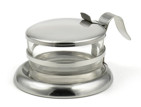 StainlessLUX 73444 Brilliant Stainless Steel Salt Server / Cheese Bowl / Condiment Glass Serving Bowl