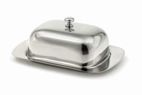 StainlessLUX 75112 Brilliant Stainless Steel Covered Butter Dish, 7.25 by 5 by 2.75-Inch