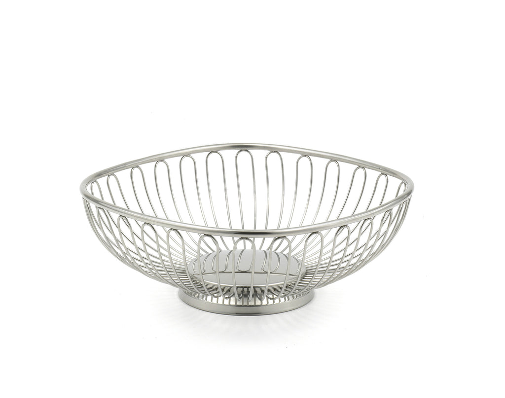 StainlessLUX 76303 Small Square Stainless Steel Wire Basket / Fruit Bowl, Square-shaped with Round Corners and Base