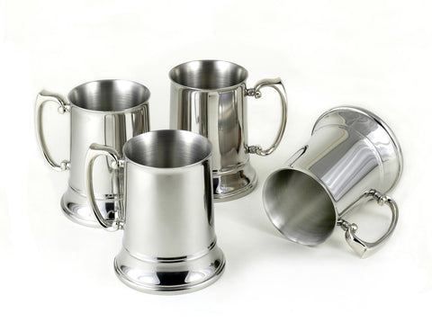 StainlessLUX 77311 Brilliant Stainless Steel Beer Mugs / Craft Beer Steins (4 Mugs / Set)