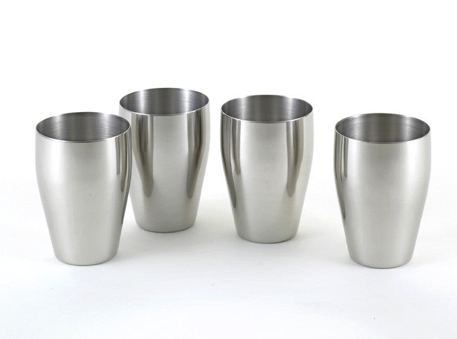 StainlessLUX 77315 Brilliant Stainless Steel Small Drinking Glass Set (8 Oz) / Small Tumbler Set (4 Tumblers / Set)