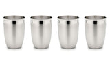 StainlessLUX 77316 Two-tone Harmony Stainless Steel Drinking Glass / Tumbler Set, 12 Oz (4 Tumblers / Set)
