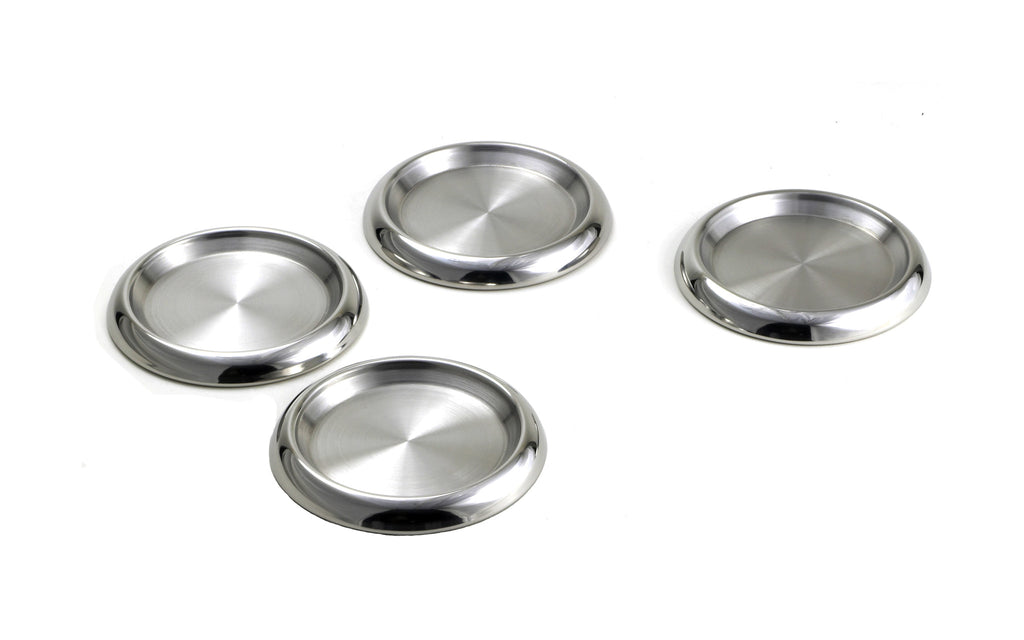 StainlessLUX 77319 Two-tone Stainless Steel Round Coaster Set (4 Pieces / Set)