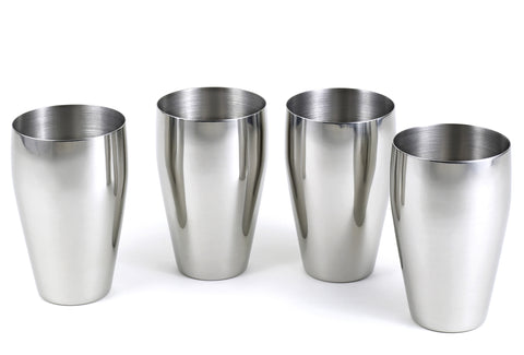 StainlessLUX 77334 Brilliant Stainless Steel Drinking Glass / Tumbler / Pub Glass Set (4 Tumblers / Set)