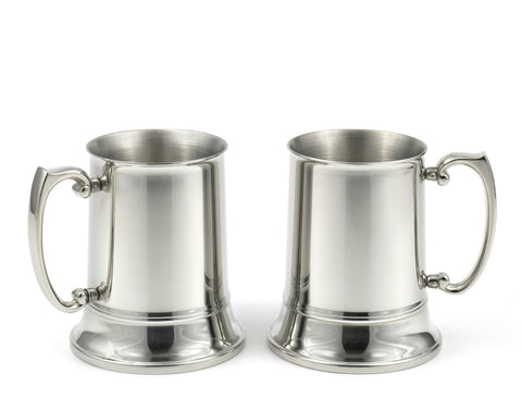 StainlessLUX 77362 2-piece Brilliant Double-walled Stainless Steel Large Beer Mug Set (16 Oz)
