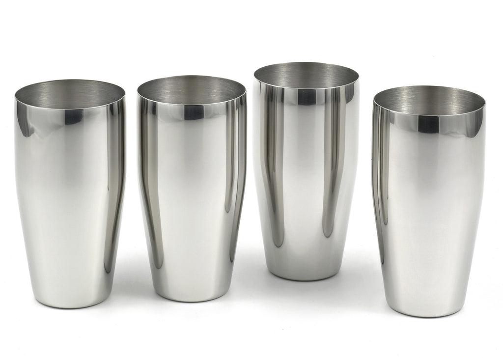 StainlessLUX 77365 Brilliant Stainless Steel Drinking Glasses / Tumblers (24 Oz) (4 Tumblers / Set)