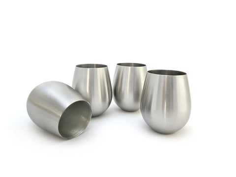 StainlessLUX 77375 4-piece Brushed Stainless Steel Stemless Wine Glass Set