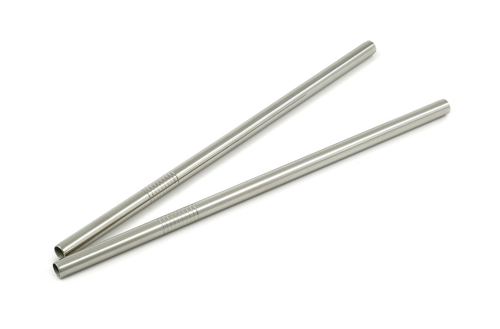 StainlessLUX 77510 Stainless Steel Straight Milkshake Straws / Smoothie Straw Set, 8.5 Inches Long x 0.3 Inches Diameter, Brilliant Finish (2 Straws / Set)