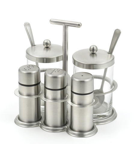 StainlessLUX 77550 Stainless Steel Salt & Pepper Shakers, Spice Shaker and Two Glass Condiment Bowl with Spoon Set