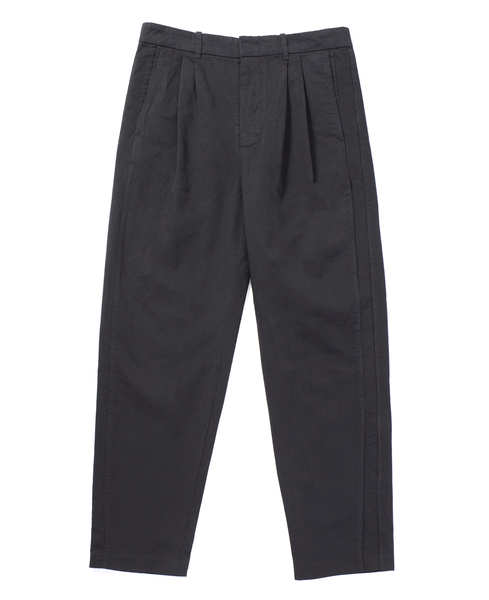 pleated stripe trouser / black gabardine