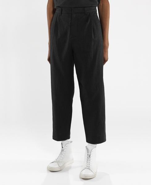 pleated stripe trouser / black linen