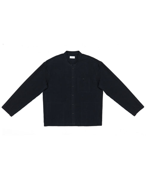 Button Up - Flannel Shirt Jacket / Seal Black