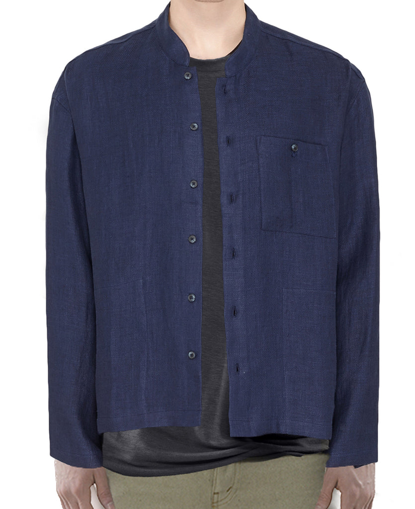 Button Up - Linen Shirt Jacket / Shadow Blue