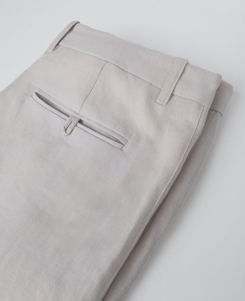 pleated stripe trouser / concrete linen