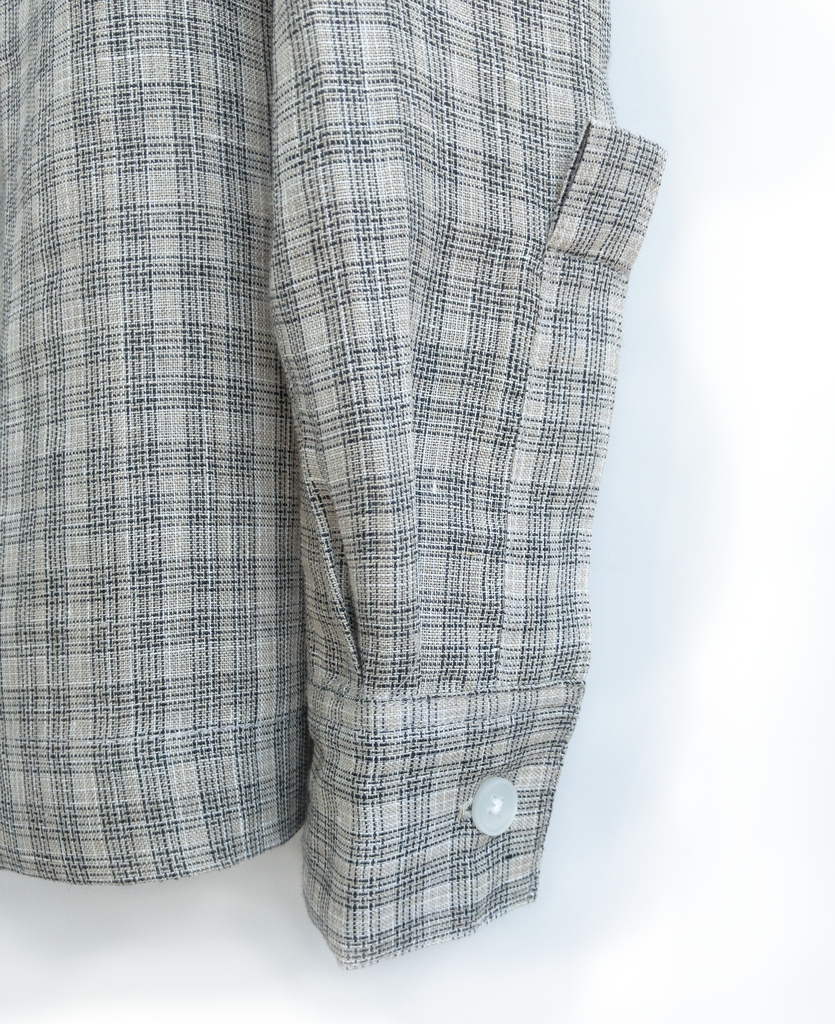 camp collar shirt / ecru window check - new