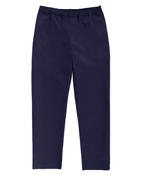 drawstring trouser / navy twill