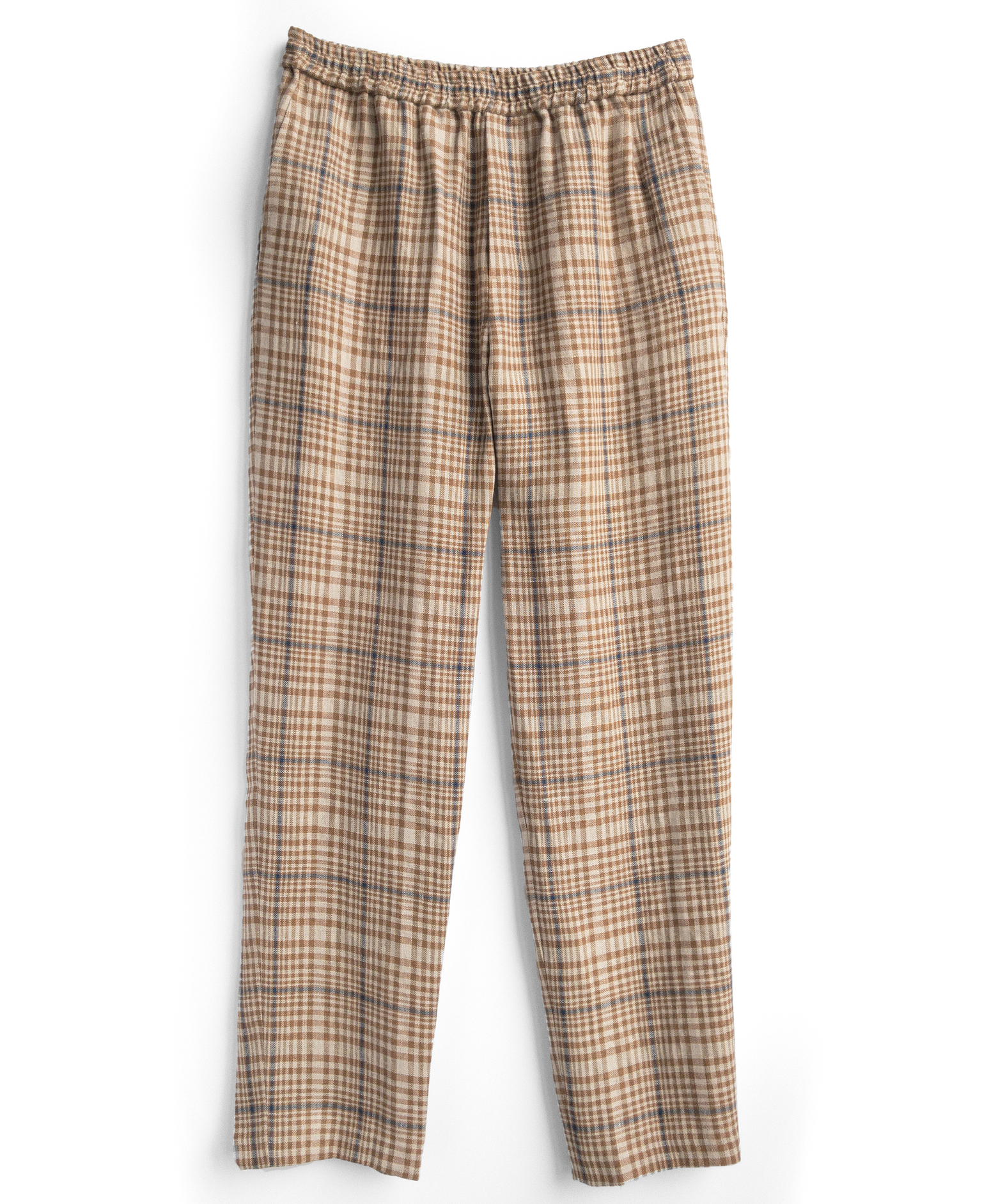 drawstring trouser / gold check linen