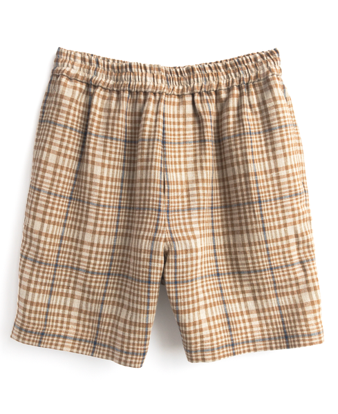 sport short / gold check linen