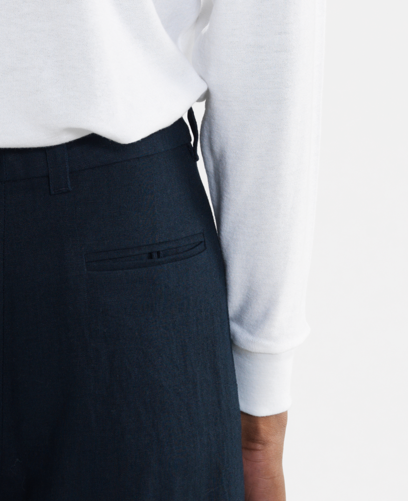 pleated stripe trouser / navy linen