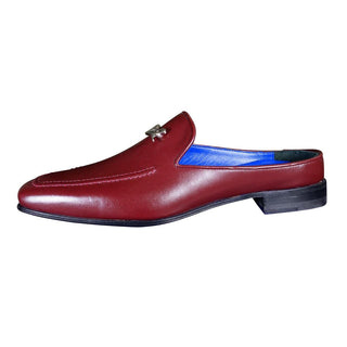 Bordo With Silver Hardware Leather Slippers