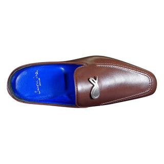 Cacao With Silver Hardware Leather Slipper