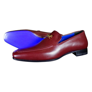 Bordo With Yellow Gold Hardware Leather Loafers