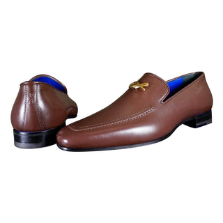 Cacao With Yellow Gold Hardware Leather Loafers