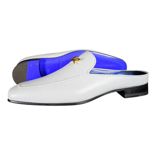 Bianco With Yellow Gold Hardware Leather Slippers
