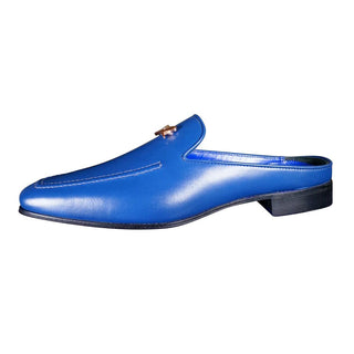 Cobalt With Rose Gold Hardware Leather Slipper
